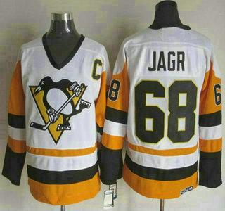 the latest 9584a 2db16 Men's Pittsburgh Penguins #68 Jaromir Jagr 1988-89 White CCM ...