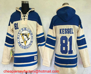 Men's Pittsburgh Penguins #81 Phil Kessel Cream Stitched NHL Old Time Hockey Hoodie