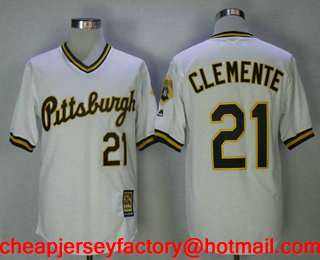 finest selection cd816 49b45 Men's Pittsburgh Pirates #21 Roberto Clemente White Pullover ...