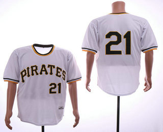3c2672ef2 Men s Pittsburgh Pirates  21 Roberto Clemente White Pullover 1971 Throwback  Cooperstown Collection Stitched MLB Mitchell