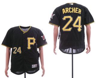 6f28c6fc144 Men s Pittsburgh Pirates  24 Chris Archer Black Alternate Stitched MLB Flex  Base Jersey