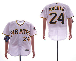 45f35d5be90 Men s Pittsburgh Pirates  24 Chris Archer White Home Stitched MLB Flex Base  Jersey