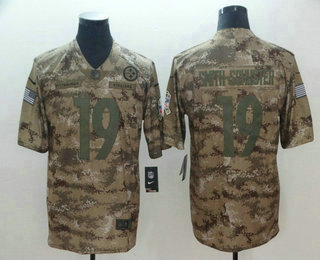 258248d26 Men s Pittsburgh Steelers  19 JuJu Smith-Schuster 2018 Camo Salute to  Service Stitched NFL