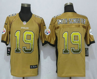 0033de25aac Men s Pittsburgh Steelers  19 JuJu Smith-Schuster Gold Drift Stitched NFL  Nike Fashion Jersey