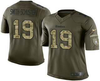 Men s Pittsburgh Steelers  19 JuJu Smith-Schuster Green Salute To Service  Stitched NFL Nike 41614e356