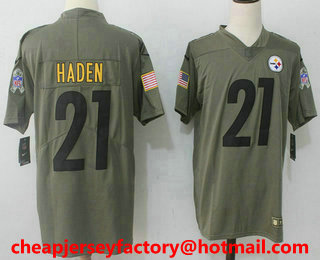 b9f324b1d ... Mens Pittsburgh Steelers 21 Joe Haden Olive 2017 Salute To Service Stitched  NFL Nike Limited ...
