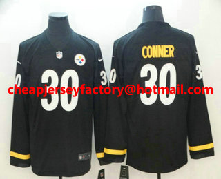 65e4c5318e6 Men s Pittsburgh Steelers  30 James Conner Nike Black Therma Long Sleeve Limited  Jersey