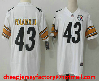 b40bec37053 ... Mens Pittsburgh Steelers 43 Troy Polamalu White 2017 Vapor Untouchable  Stitched NFL Nike Limited Jersey ...