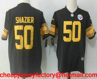 15f3407dec3 Men's Pittsburgh Steelers #50 Ryan Shazier Black 2016 Color Rush Stitched  NFL Nike Limited Jersey
