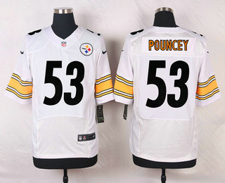 e6c040ada Men s Pittsburgh Steelers  53 Maurkice Pouncey White Road NFL Nike Elite  Jersey
