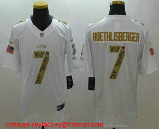 b72d785ba ... Mens Pittsburgh Steelers 7 Ben Roethlisberger White Salute To Service Stitched  NFL Nike Limited Jersey ...
