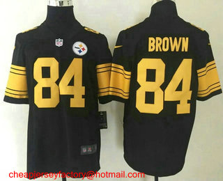2f0ce014 Men's Pittsburgh Steelers #84 Antonio Brown Black With Yellow 2016 ...