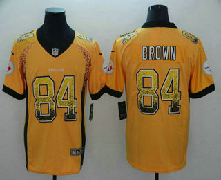 03b2c29d2 Men s Pittsburgh Steelers  84 Antonio Brown Gold 2018 Fashion Drift Color  Rush Stitched NFL Nike
