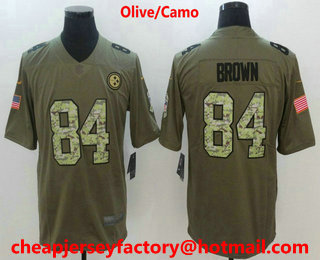 459f0501f6b ... Nike Limited Jersey $ 21.5. Men's Pittsburgh Steelers #84 Antonio Brown  Olive With Camo 2017 Salute To Service Stitched NFL