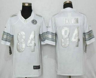 0dd8cf20ad5 Men's Pittsburgh Steelers #84 Antonio Brown White Platinum NFL Nike Limited  Jersey