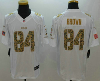 86556b25861 ... Mens Pittsburgh Steelers 84 Antonio Brown White Salute To Service  Stitched NFL Nike Limited Jersey ...