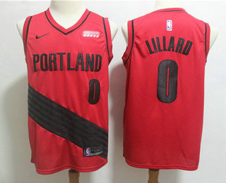 9d91612f3 Men s Portland Trail Blazers  0 Damian Lillard Red Nike 2019 New Season Swingman  City Edition