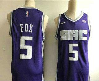 0c60d5686f72 Men s Sacramento Kings  5 De Aaron Fox Purple 2017-2018 Nike Swingman  Stitched