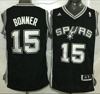 Men's San Antonio Spurs #15 Matt Bonner Revolution 30 Swingman Black Jersey