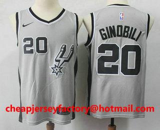 fb8f7bd71 Men s San Antonio Spurs  20 Manu Ginobili Gray 2017-2018 Nike Swingman  Stitched NBA Jersey