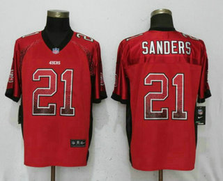 78d34077f Men s San Francisco 49ers  21 Deion Sanders Red Drift Stitched NFL Nike  Fashion Elite Jersey