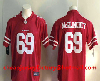 03e77d01ca2 Men's San Francisco 49ers #69 Mike McGlinchey Red 2017 Vapor Untouchable  Stitched NFL Nike Limited