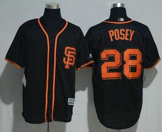 Men's San Francisco Giants #28 Buster Posey Black SF USA Flag Fashion MLB Baseball Jersey