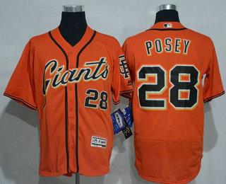 Men's San Francisco Giants #28 Buster Posey Name Orange 2016 Flexbase Majestic Baseball Jersey