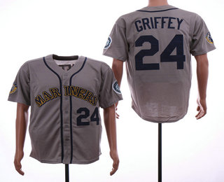 335da9653a9 Men s Seattle Mariners  24 Ken Griffey Jr. Teal Gray Road 1995 Throwback Cooperstown  Collection Stitched MLB Mitchell   Ness Jersey