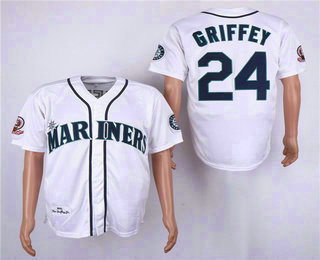 1cae0686e2e Men s Seattle Mariners  24 Ken Griffey Jr. Teal White 1995 Throwback Cooperstown  Collection Stitched