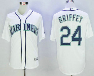 Men's Seattle Mariners #24 Ken Griffey Jr. White Cooperstown Collection Cool Base Jersey w2016 Hall Of Fame Patch