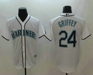 93c2772e40b Men s Seattle Mariners  24 Ken Griffey Jr. White Stitched MLB Cool Base  Jersey