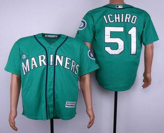 Men s Seattle Mariners  51 Ichiro Suzuki Teal Green Stitched MLB Cool Base  Jersey 777affebe