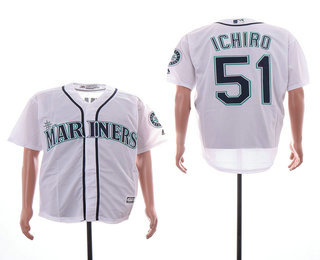 5fd31fac6aa Men s Seattle Mariners  51 Ichiro Suzuki White Stitched MLB Cool Base Jersey