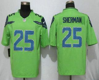 new arrival 40abf 17662 Men's Seattle Seahawks #25 Richard Sherman Green 2016 Color ...