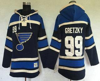 Men's St. Louis Blues #99 Wayne Gretzky Navy Blue Old Time Hockey Hoodie
