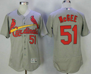 839c3e222cc Men s St. Louis Cardinals  51 Willie McGee Retired Gray Road Stitched MLB  Flex Base