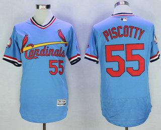 Men's St. Louis Cardinals #55 Stephen Piscotty Light Blue Pullover 2016 Flexbase Majestic Baseball Jersey