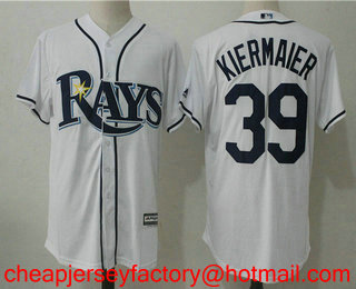61e2bf87c Men s Tampa Bay Rays  39 Kevin Kiermaier White Home Stitched MLB Cool Base  Jersey