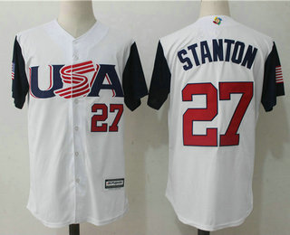 f3189f48a Men s Team USA Baseball  27 Giancarlo Stanton White 2017 World Baseball  Classic Stitched Authentic Jersey