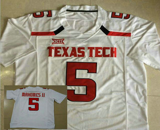 newest e41bf 692d0 Men's Texas Tech #5 Patrick Mahomes II White College ...