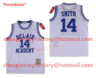 8fd83b67b Men s The Movie Bel Air Academy  14 Will Smith White Swingman Basketball  Jersey