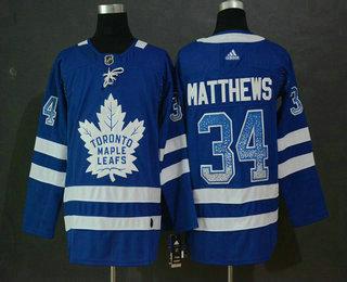 Men s Toronto Maple Leafs  34 Auston Matthews Blue Drift Fashion Adidas  Stitched NHL Jersey 47c73e4b3