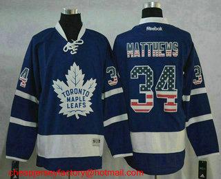 6027c94162f Men s Toronto Maple Leafs  34 Auston Matthews Blue USA Flag Fashion  Stitched NHL Reebok Hockey
