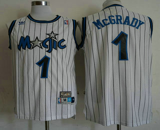 d3d27bb541a Men s Orlando Magic  1 Tracy McGrady White Hardwood Classics Soul Swingman  Throwback Jersey