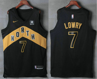 b3e28a411 Men s Toronto Raptors  7 Kyle Lowry Black Nike 2017-2018 NBA Swingman City  Edition