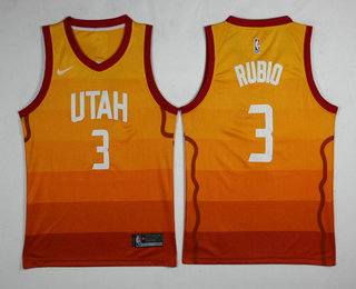 340743ece Men s Utah Jazz  3 Ricky Rubio Yellow Nike 2017-2018 NBA Swingman City  Edition