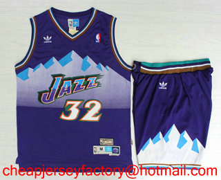 de5dccc1bdf ... Mens Utah Jazz 32 Karl Malone Mountain Purple Hardwood Classics Soul  Swingman Throwback Jersey With ...