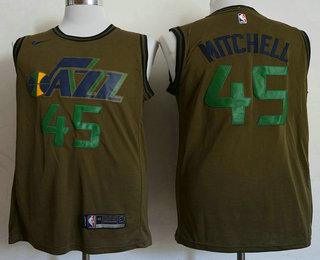 f30993c63 Men s Utah Jazz  45 Donovan Mitchell Olive Stitched Nike Swingman Jersey