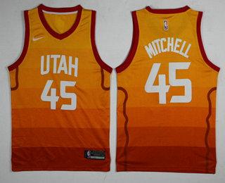 wholesale dealer 19028 fa601 Men's Utah Jazz #45 Donovan Mitchell Yellow Nike 2017-2018 ...